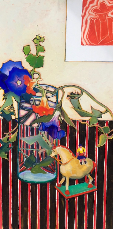 Charles Prentiss - Nasturtiums, Morning Glories & Tom, 48x24""