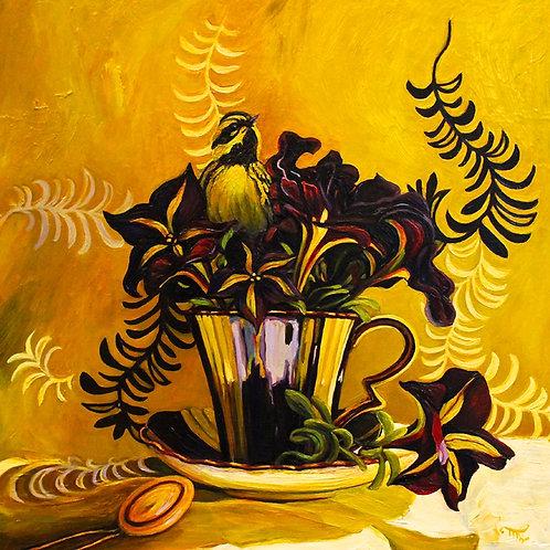 "Marie Cameron - Petunia Tea II 12x12"""