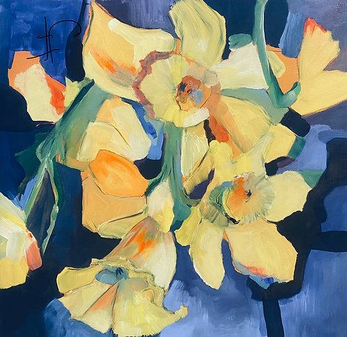 "Jane Ferguson Daffodils In The Window 20x20"""