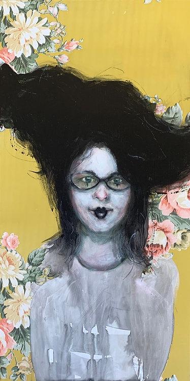 """Dee Hooker - Wall Paper Flower, 24x12"""""""
