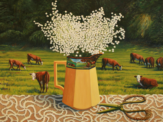 Lily of the Valley with Cows 2013 oil on
