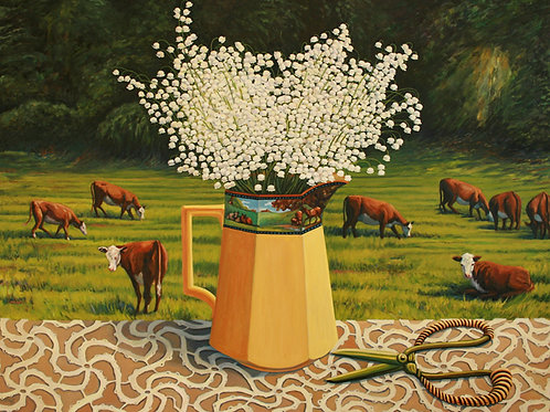 "Marie Cameron - Lily of the Valley with Cows 30x40"" (SOLD)"