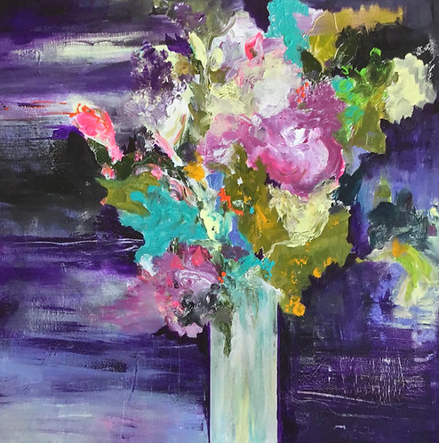 (SOLD)  Flowers in a Vase with Purple Background 24x24""