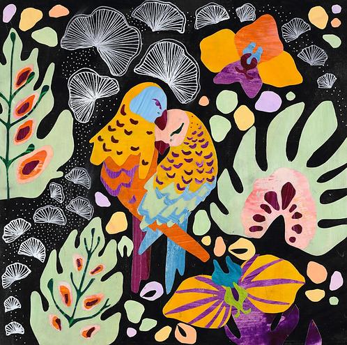 "Noelle Correia - Love Birds III 14x14"""