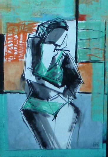 "Gail Ragains - Figure Collage Orange & Green 12x48"""