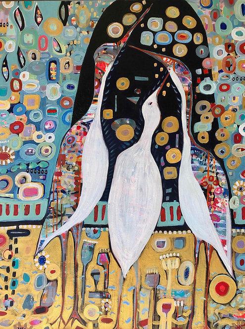 "Cindy Mori - Three Cranes Wishing, 36x48"""