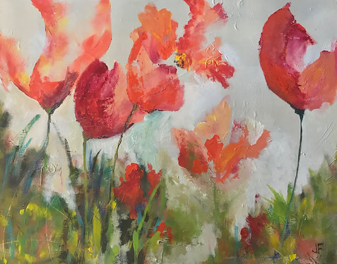 (SOLD) Jane Ferguson - Pink Poppies , 24x30""