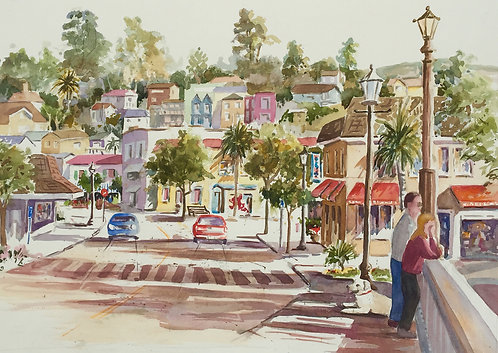 """Sally Bookman - Capitola, View from the Bridge 17x23"""""""