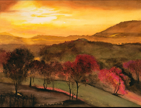 "Nancy Holleran -  Sunset Monte Forte d 'Alba Italy, 28x35"""
