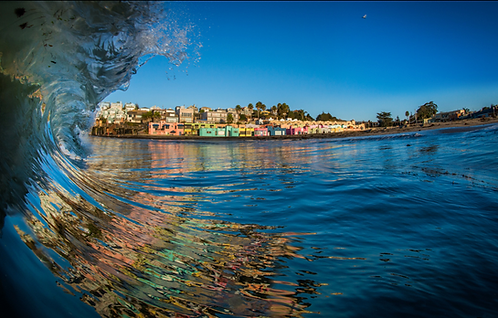 "Neil Simmons - Capitola Venetians Wave - Framed 24x36"""