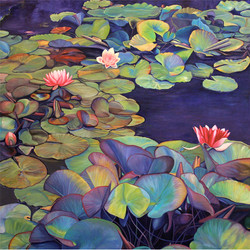 Marie Cameron Pond Lily Path 40x40 $3200
