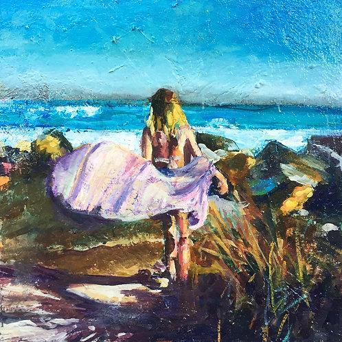 "Carrie Clayden - Purple Kimono 20x20"""