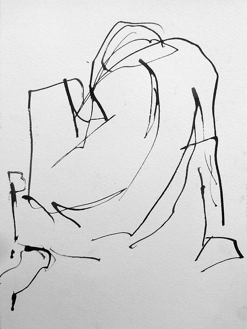 """(SOLD) Gail Ragains - Line Gesture #6, 15x11"""""""