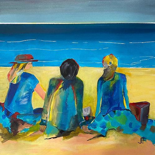 "Jane Ferguson - Picnic on the Beach, 24x24"""