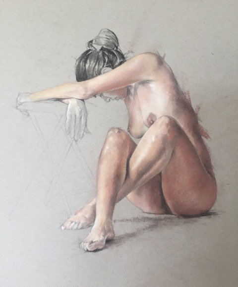 "Susie Wilson - Pastel on Board, Figure II 11x11"""