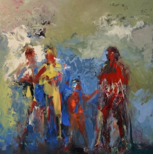 "Ursula O'Farrell - Family by the Sea, 36x36"""