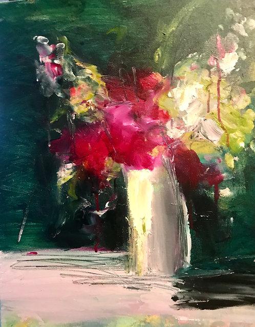 """(SOLD) Carrie Clayden - Flower in Vase, 16x20"""""""