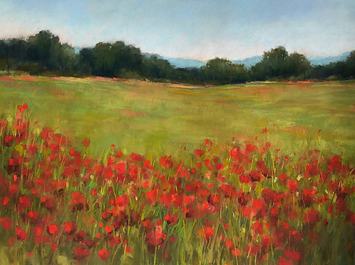 "Joan Hellenthal - Red Poppy Field, 24x30"" (framed)"