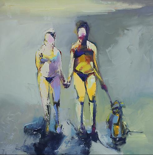 "Ursula O'Farrell - Day at the Beach, 30x30"""