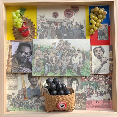 "Lucien Kubo - Pilipino American Farmworkers, Pajaro Valley, 16x16"""