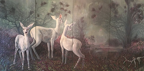 "Marie Cameron - Linimal Land - quadtych 48x96"""
