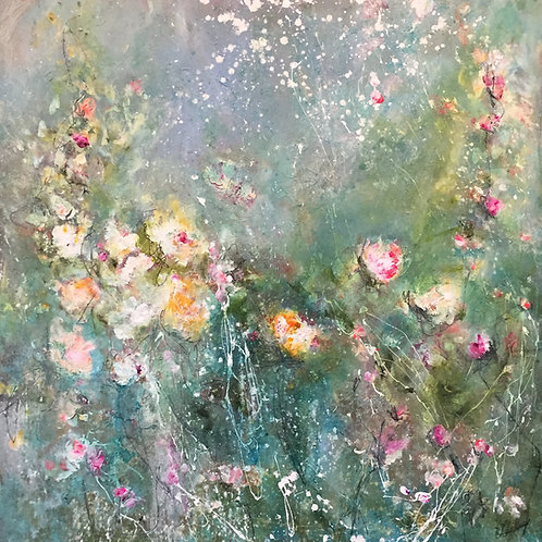 (SOLD) Carrie Clayden - Among the Wildflowers, 36x36""