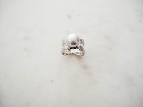 Silber Ring mit Zuchtperle grau