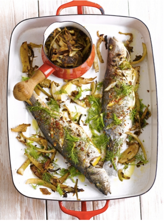 Spiced sea bass with caramelised fennel
