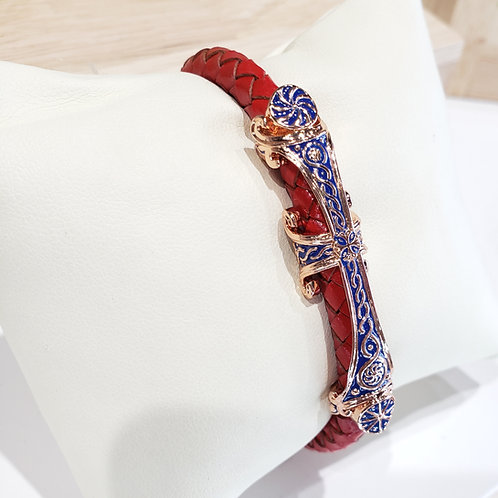 #1332 - Maral Khachkar Rose Gold Plated Woven Leather Bracelet