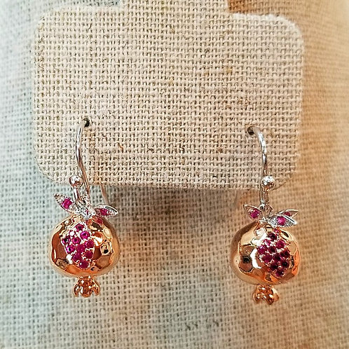 #1601 - Two-tone Silver Pomegranate and Rose gold plated earrings