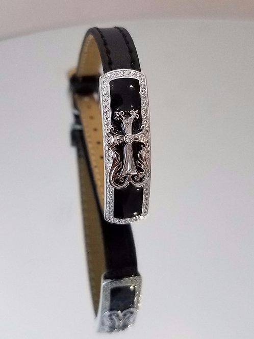 1305 Anag  Silver Khachkar with accent stone Bracelet