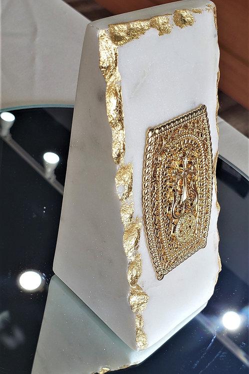 Rectangular 18K Yellow Gold Plated Khachkar Marble Tabletop Decor