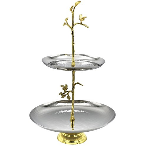 2-Tier S/S Handmade Stand - Bird & Leaves H:13in