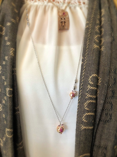 #1427 - Two-tone silver pomegranate and rose gold platedpomegranate