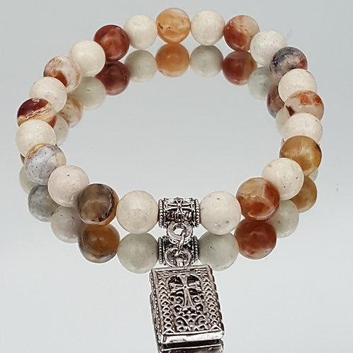 Brandy Opal/ River Stone Cross Bead Bracelet