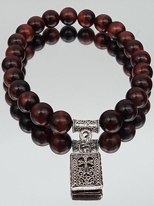 Red Tiger Eye Stone Cross Beaded Bracelet