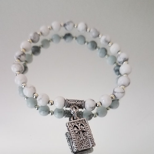 White Howlite 6mm with Silver Beaded Spacers Stone Cross