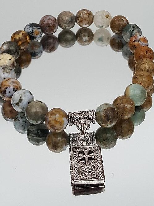 Ocean Jasper Stone Cross Beaded Bracelet