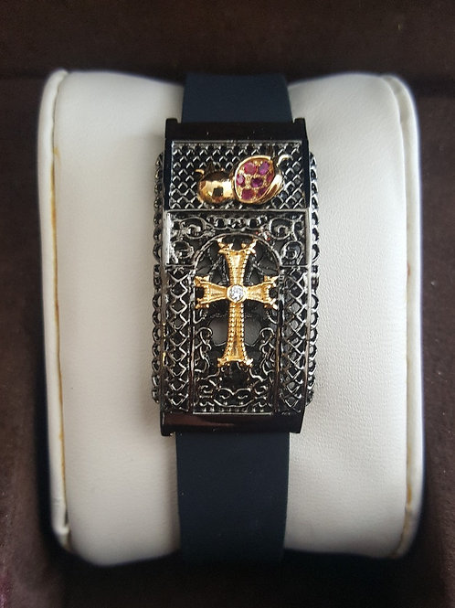 Sevan Black Rhodium with 18K Yellow Gold Plate & Sterling Silver Stone Cross