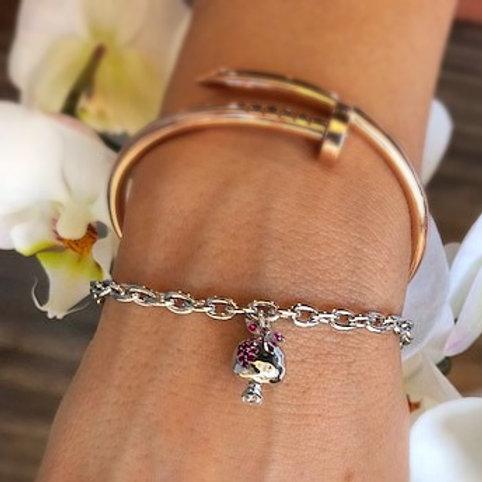 #1412- Silver Small Pomegranate Charm Bracelet