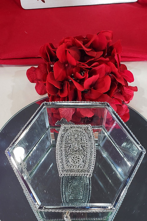 Pentagon Jewelry Box with Silver Plated Khachkar