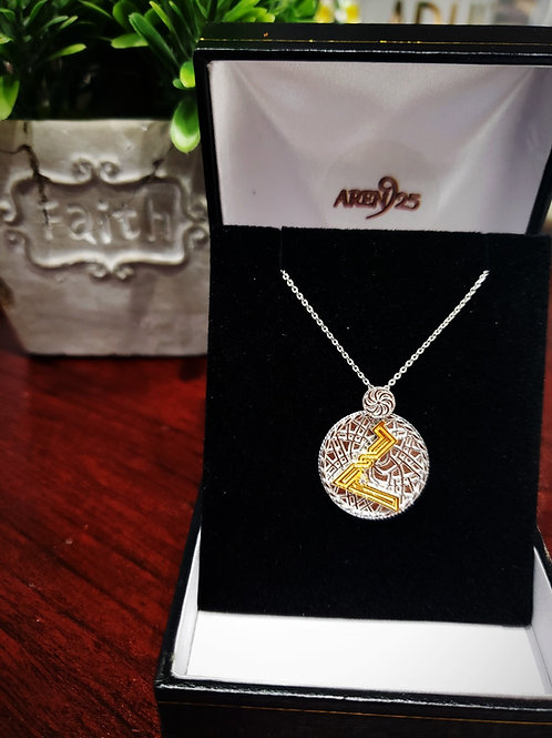 "Armenian ""Ho"" Sterling Silver Pendant with Gold Plated Letter"