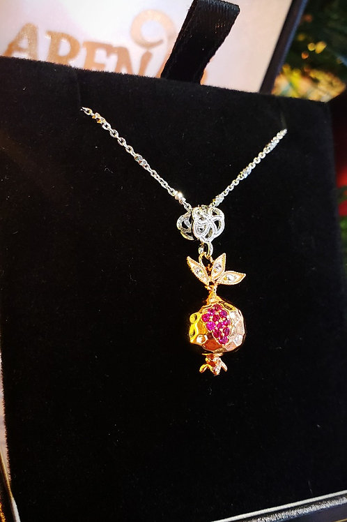 #1431- Sterling Silver Rose Gold Plated Small Pomegranate Necklace