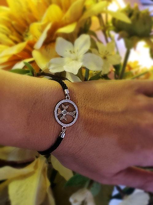 #5008 Khachkar Sterling Silver Black Cord Adjustable Bracelet with Accent Stones