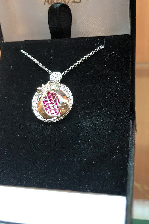 #1428 -Pomegranate 2 tone silver and rose gold plated micro pave red ruby stones