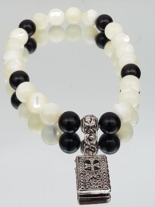 Mother of Pearl -Onyx Stone Cross Beaded Bracelet