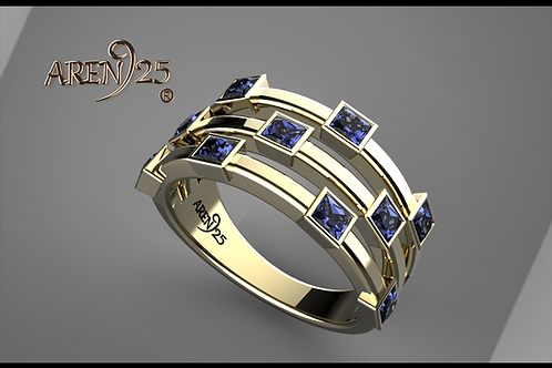 14K gold and Blue Diamond ring band