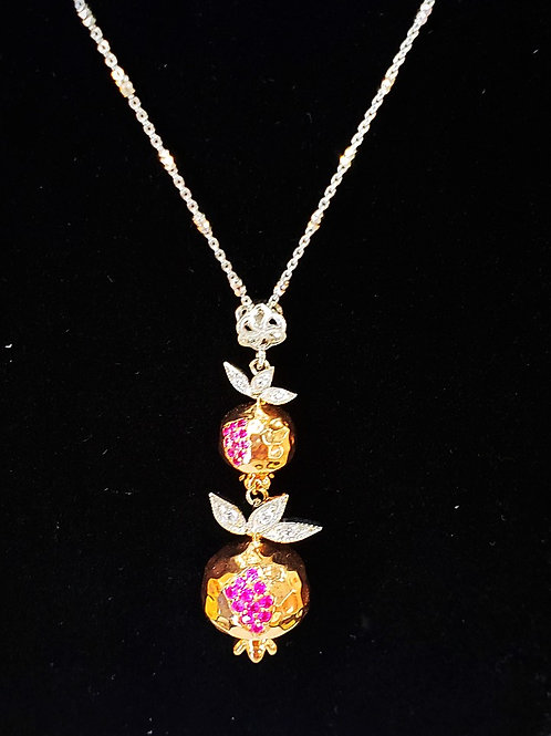#1432- Sterling Silver Rose Gold Plated Small Pomegranate Necklace