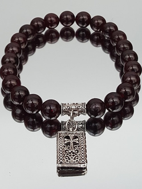 Red Garnet Stone Cross Beaded Bracelet