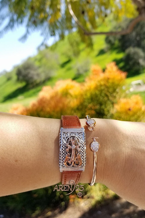 #1177 Nare' Sterling Silver  Wristband with Accent Stone
